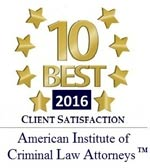 Hanan Boulos - 10 best in client satisfaction 2016 - American Institute of Criminal Law Attorneys